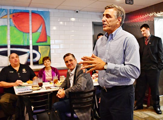 U.S. Rep. Lou Barletta, R-Pa., the Republican nominee for U.S. Senate facing incumbent U.S. Sen. Bob Casey, addresses York countians at Round the Clock Diner in Manchester Township, Tuesday, Sept. 25, 2018. Dawn J. Sagert photo
