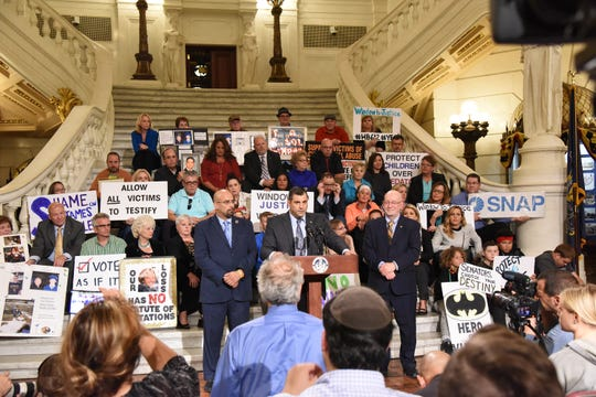 State Rep. Mark Rozzi gives a speech supporting survivor victims of child abuse on Monday, September 24, 2018 at the Capitol in Harrisburg. He rallied along multiple representatives and survivors that are against child abuse.