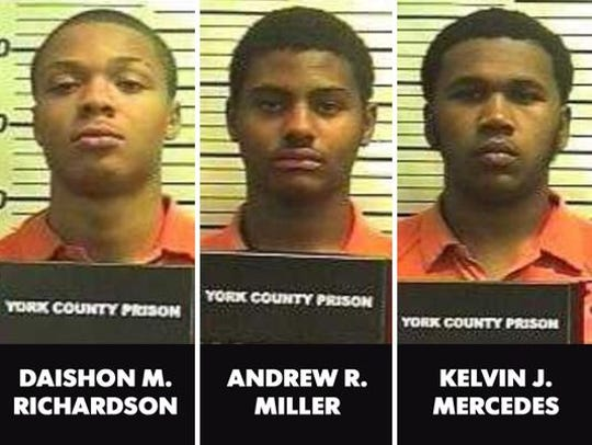 Daishon Richardson, left, Andrew Miller, center, and Kelvin Mercedes,  right, all 17, of Manchester Township.