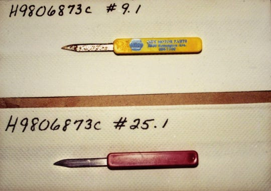 Photo of police photo of murder weapon from Zachary Witman trial.