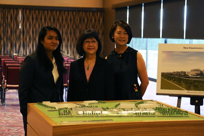 Jane Liu, founder and CEO of medical device company Deantronics, stands in front of a model of their future Reno-Sparks facility on Sept. 25, 2018 at the Nugget.