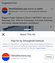 A screenshot of a RenoElections.org ad on Facebook shows a notice that the item was paid for by Stronghold Institute, although Paul White, who runs the site, told the RGJ the two entities are not connected.