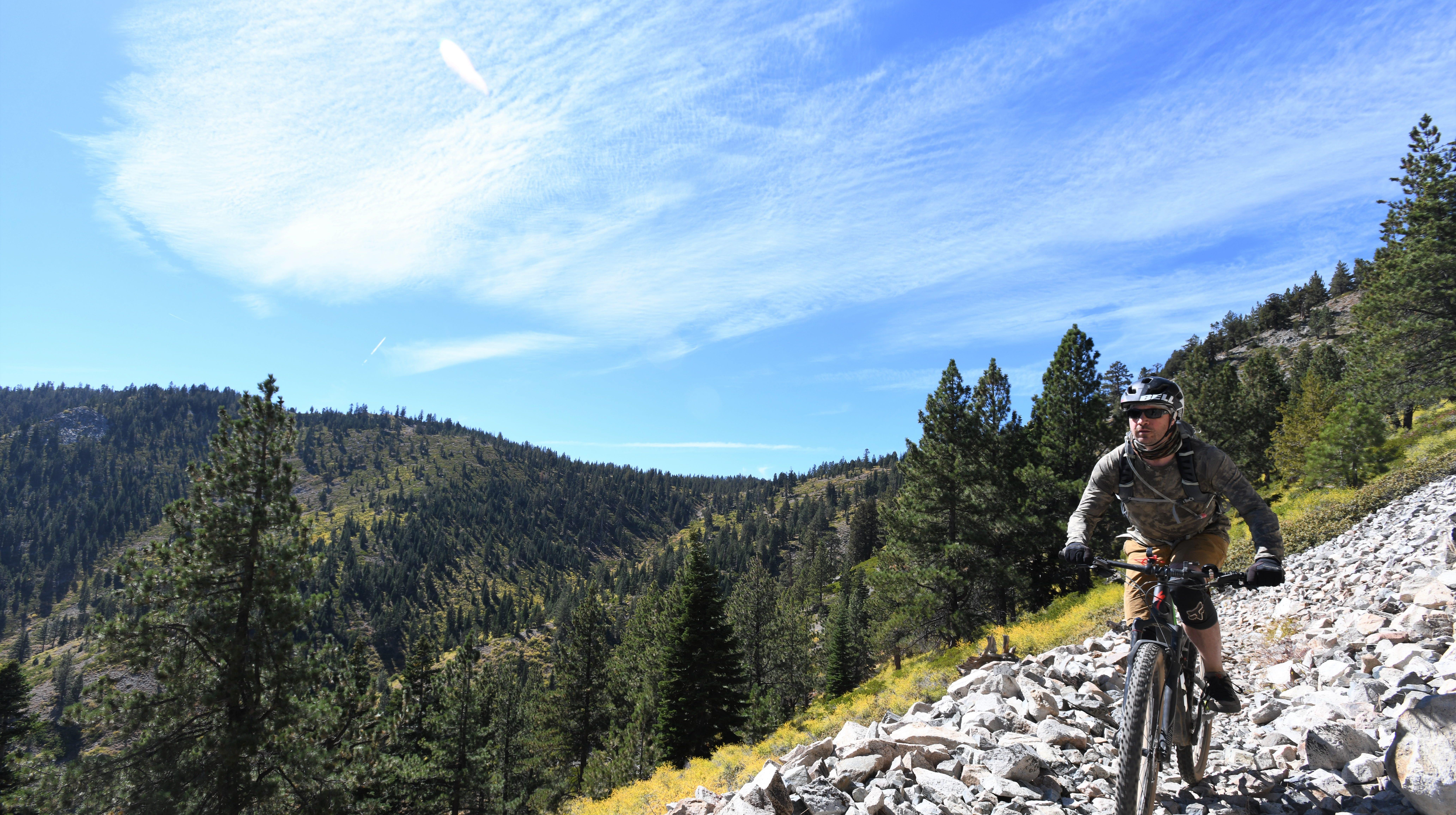 Outdoors writer Benjamin Spillman descends Sierra Canyon near Genoa, Nev., on Sept. 22, 2018.