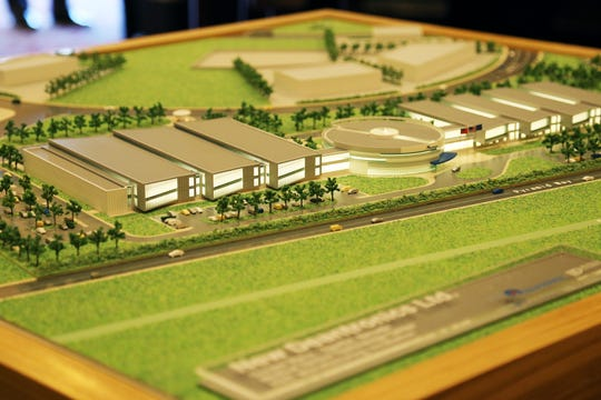 A scale model of medical device company Deantronics' Reno-Sparks facility taken on Sept. 25, 2018 at the Nugget.