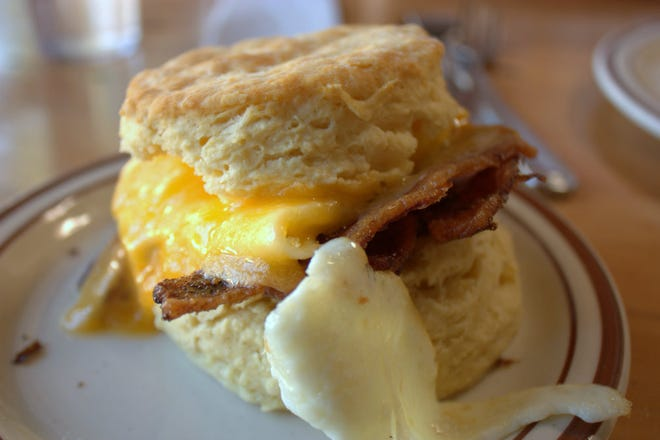 The menu at Pine State Biscuits, the beloved Portland biscuitery opening Sept. 29 in Reno, offers several biscuit sandwiches.