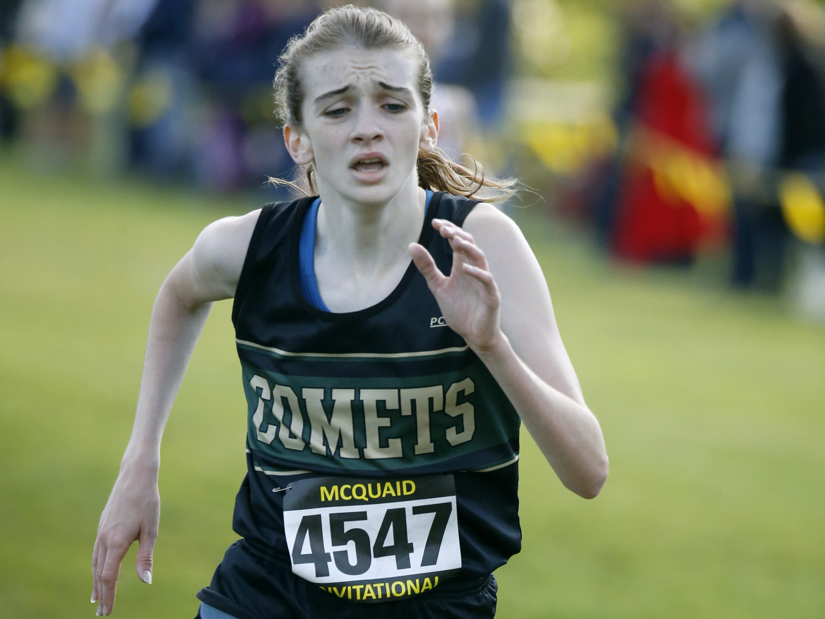 Rush-Henrietta's Haley Riorden finished 9th with a time of 17:56.5 in the 2017 Girls Seeded Varsity AAA (Large schools) during the 53rd McQuaid Invitational at Genesee Valley Park.