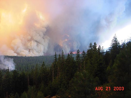 Views of the B&B Complex wildfires on Aug. 21, 2003.