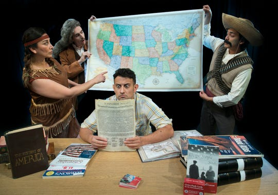 Adrian Torres, pictured center, in the lead role as Juan Jose. From left, DeAnna Diaz poses as Sacagawea, and Jack Clifford is Capt. Meriwether Lewis. At far right, Jacob Juarez stars as Juan Jose's ancestor, a Mexican revolutionary.