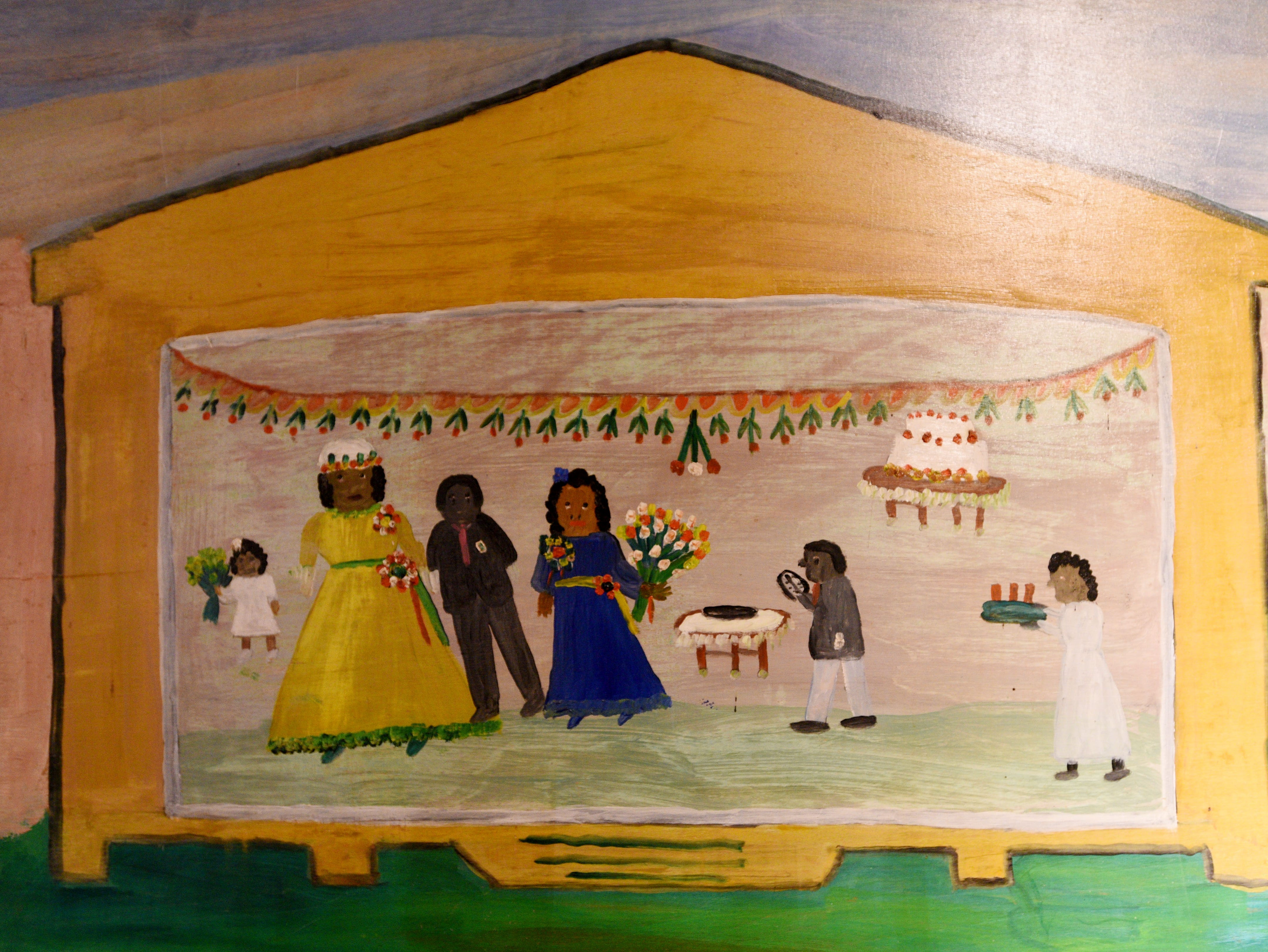 Clementine Hunter's mural in the African House on Melrose Plantation.