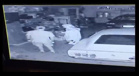 Police are looking for two men who stole a TV and speakers from a Sioux Falls garage last week.