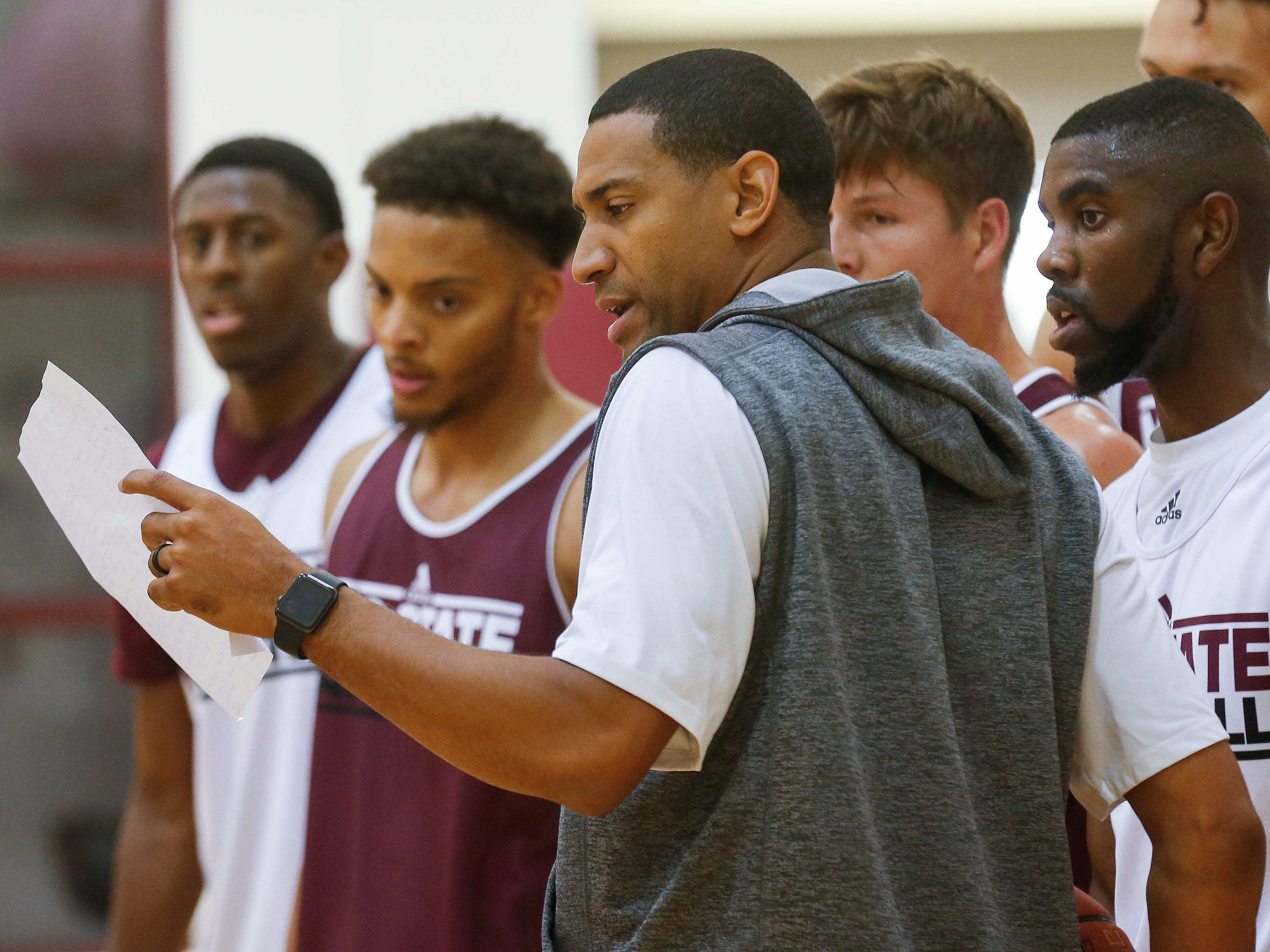 Head coach Dana Ford breaks his players up into groups during the Missouri State University men's basketball team's first practice of the season on Tuesday, Sept. 25, 2018.
