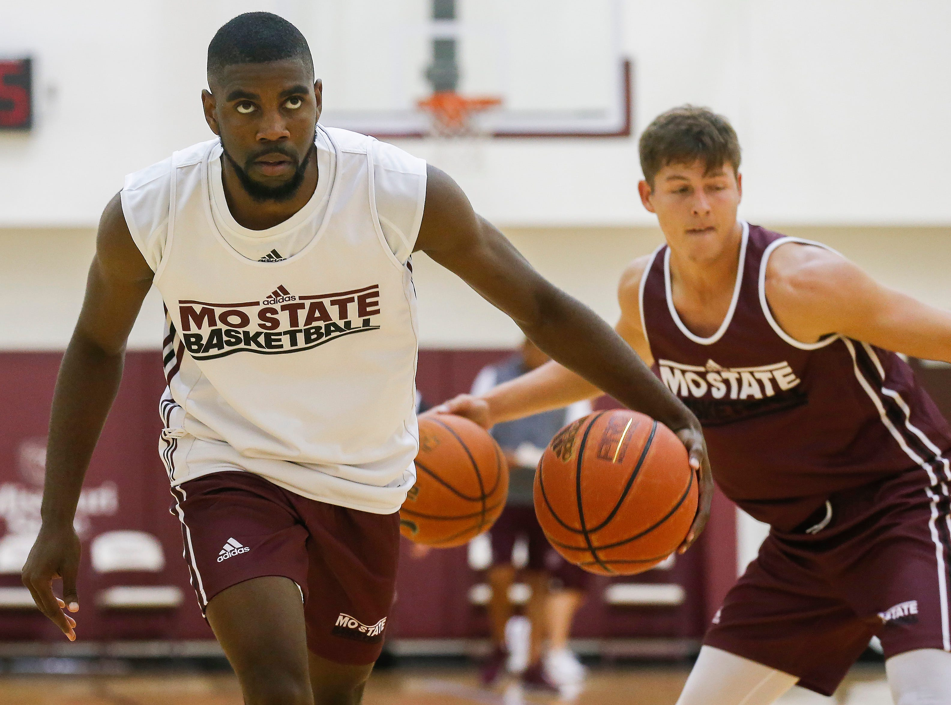 Josh Webster runs a drill during the Missouri State University men's basketball team's first practice of the season on Tuesday, Sept. 25, 2018.