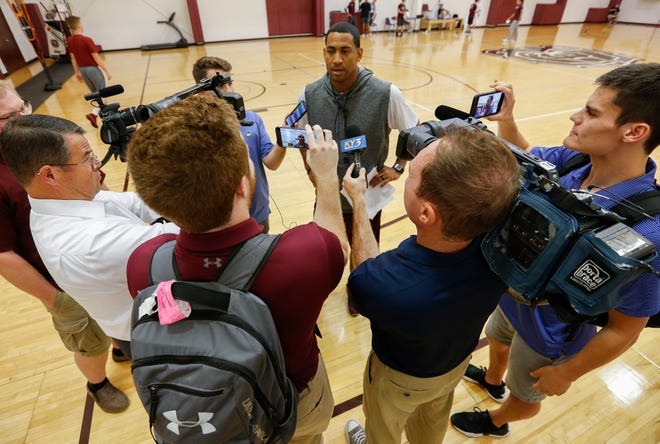 Head coach Dana Ford talks to the media during the Missouri State University men's basketball team's first practice of the season on Tuesday, Sept. 25, 2018.