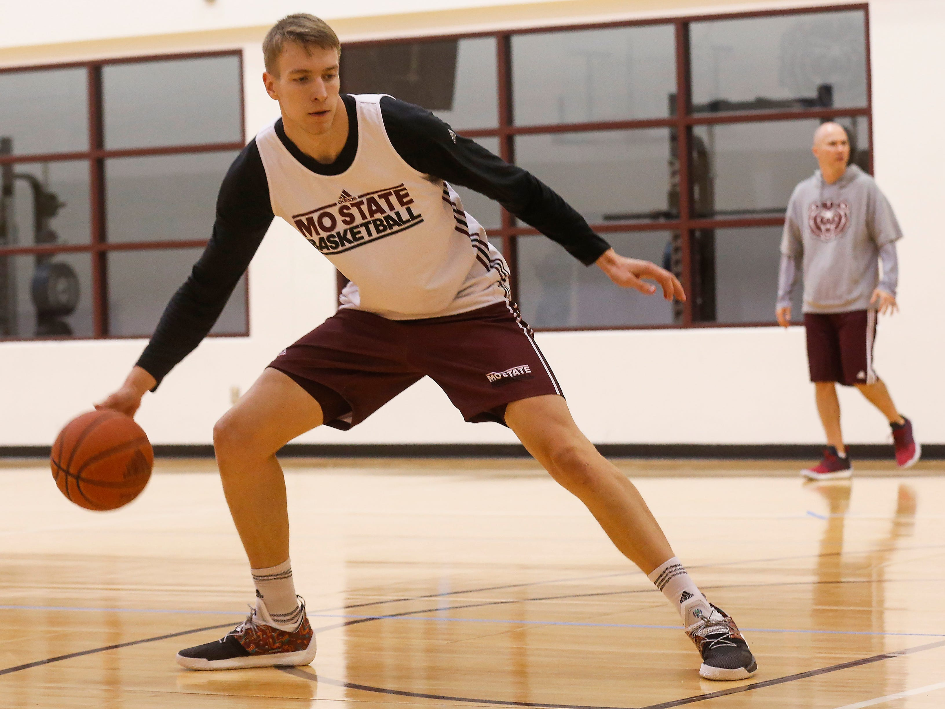 Scenes from the Missouri State University men's basketball team's first practice of the season on Tuesday, Sept. 25, 2018.