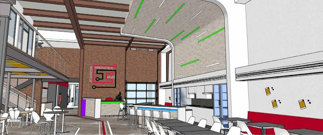 A warehouse space becomes an open atrium in this drawing of the Staunton Innovation Hub, as pictured from the front entrance off North Augusta Street in Staunton. The iHub will be in full operation by July 2019, with co-working space, flexible offices and several anchor tenants, including The News Leader.