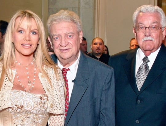 Joan and Rodney Dangerfield with her dad, Smokey Child, are seen about six months before Rodney Dangerfield died.