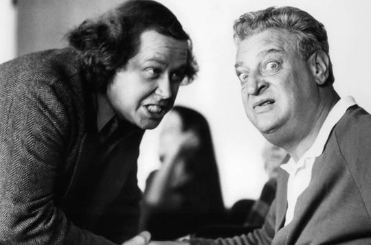 """Rodney Dangerfield starred in the 1986 movie """"Back to School"""" with Sam Kinnison."""