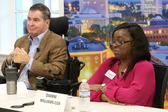 Robert Lotane (left) and Dianne Williams-Cox (right) City Commission Seat 5 candidates speak at the editorial board meeting held on September 25, 2018.