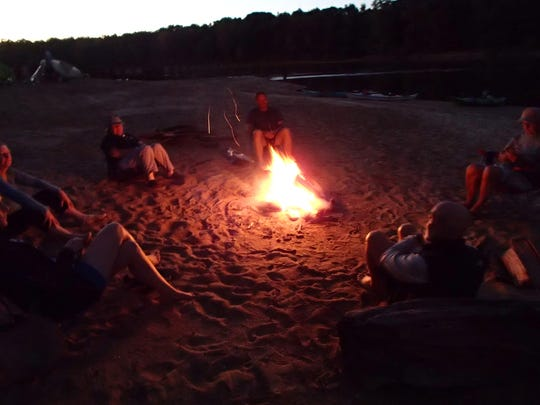 Camp fire at Alum Bluff along the Apalachicola River.