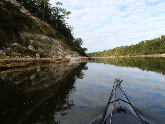 Paddling along Alum Bluff.