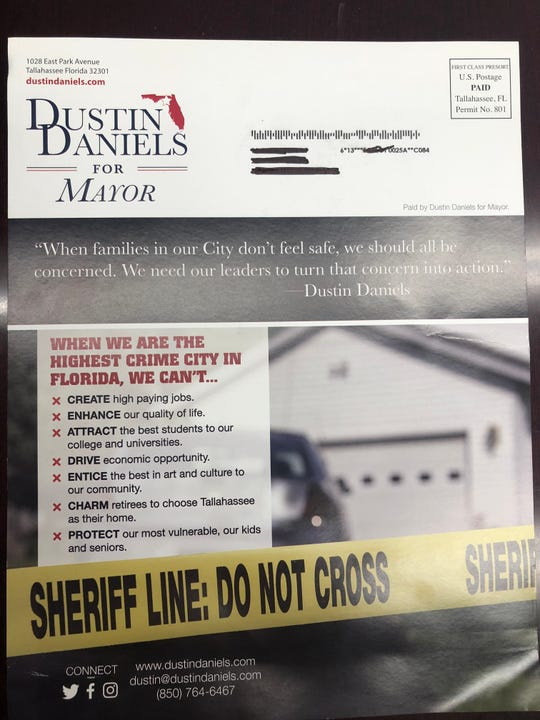 Dustin Daniels for Mayor mailer highlights Tallahassee crime rate