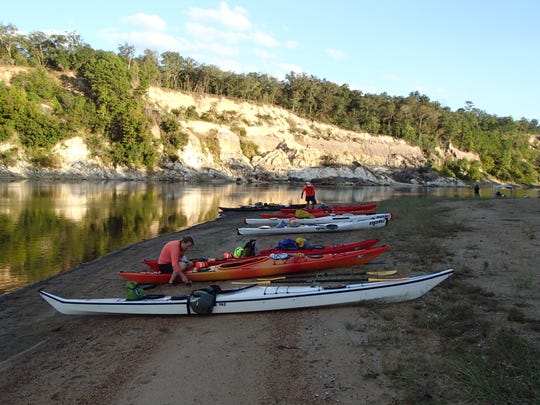 RiverTrek group across from Alum Bluff in 2016.