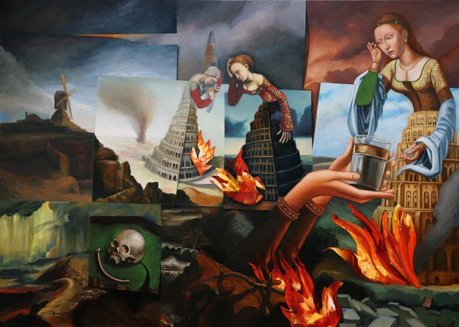 Artwork by Carrie Ann Baade is on the wall in Quincy.