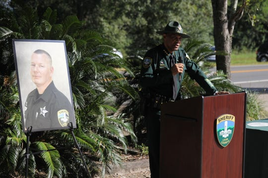 Leon County Sheriff Walt McNeil speaks during a highway marker unveiling memorializing slain deputy Chris Smith.