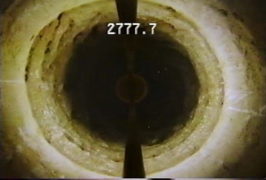 The view inside a deep injection well 2,777.7 feet underground.
