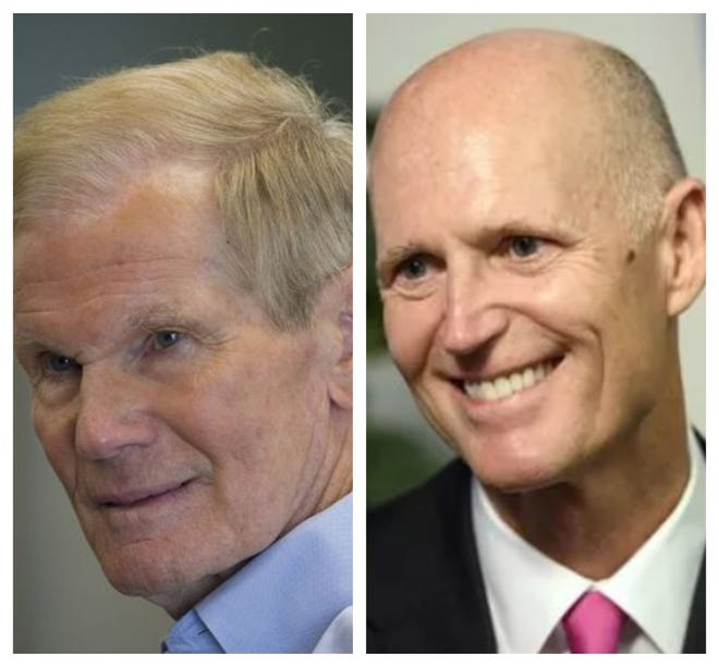 Democratic Sen. Bill Nelson, left, and Republican Gov. Rick Scott are running for Senate on the Nov. 6 ballot.