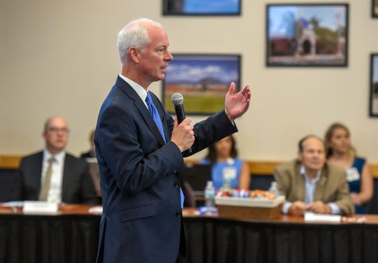 Juniper Advisory managing director Barry Sagraves solicits comments from Indian River County residents Tuesday, Sept. 25, 2018, near the conclusion of a meeting to explain and discuss the final stages of a deal involving the Cleveland Clinic's partnership with the Indian River Medical Center at the Richardson Center at Indian River State College's Mueller Campus in Vero Beach. The Indian River Medical Center Board of Directors, Indian River County Hospital District Board of Trustees, representatives of the Cleveland Clinic Foundation, attorneys, and IRC residents discussed the details of the partnership, the process leading up to it's finalization, and the expected future outcomes for the community. To see more photos, go to TCPalm.com.