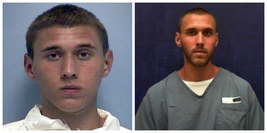 On left, Tyler Hadley at 17, photo contributed by the State Attorney's Office, on right, age 24, photo contributed by Florida Department of Corrections