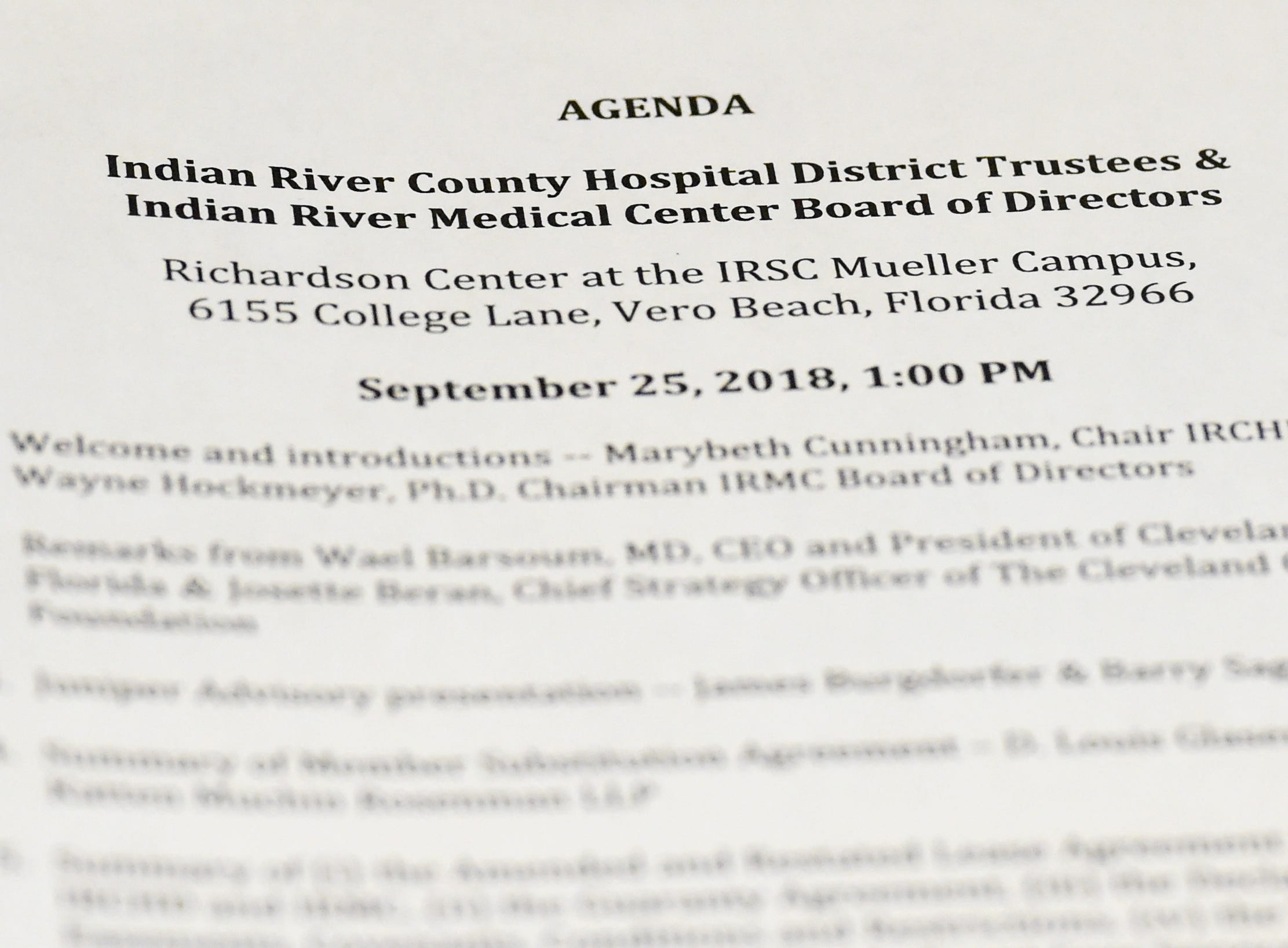 The Indian River Medical Center Board of Directors, Indian River County Hospital District Board of Trustees, representatives of the Cleveland Clinic Foundation, attorneys, and IRC residents met Tuesday, Sept. 25, 2018, to explain and discuss the final stages of a deal involving the Cleveland Clinic's partnership with the Indian River Medical Center at the Richardson Center at Indian River State College's Mueller Campus in Vero Beach.