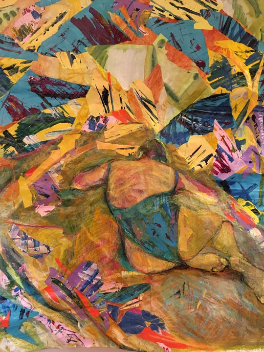 A modern, almost abstract approach to a beachgoer can be seen in this painting by Anne Whitney.