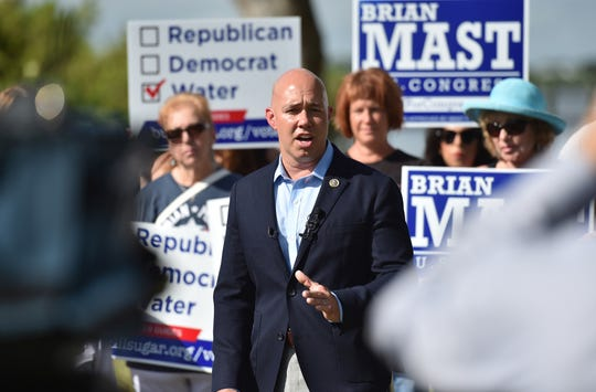 U.S. Rep. Brian Mast, R-Palm City, speaks at media event with BullSugar.org at Shepard Park on Tuesday, September 25, 2018 in Stuart.  CQ: Brian Mast