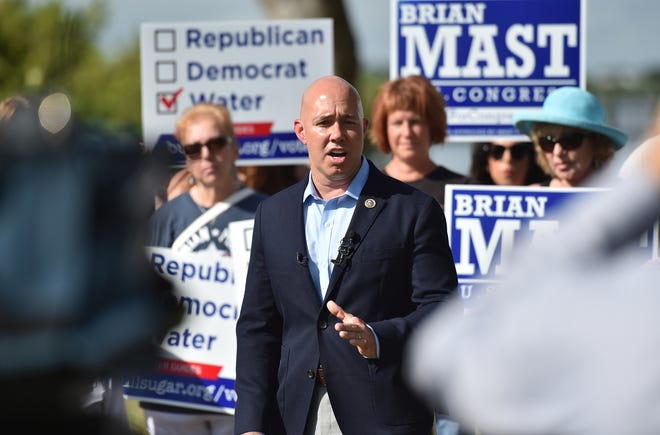 U.S. Rep. Brian Mast, R-Palm City, speaks at a media event with BullSugar.org at Shepard Park on Tuesday, Sept. 25, 2018 in Stuart.