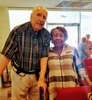 """Artist Aksel Pedersen, left, poses with featured artist Henrimae Bell during a """"talk and tea"""" event in February at the Galleries at First Pres at the First Presbyterian Church in Vero Beach."""