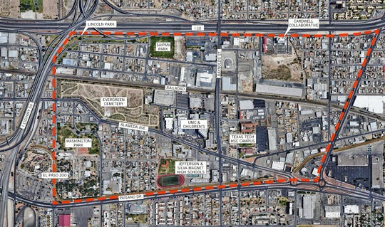 The red, dotted line is the boundary of the 440-acre Medical Center of the Americas zone in Central El Paso. It includes the El Paso Zoo in the southwest corner of the city-designated zone.