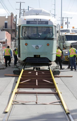 The fourth of six streetcars made its return to El Paso Tuesday morning. As with the past three streetcars, number 1514 with a police escort made the final turn on Father Rahm Street before being unloaded to join the other three streetcars in the barn which includes 1504, 1506 and 1512. In less than a month the final two streetcars will complete their journey back home as well.
