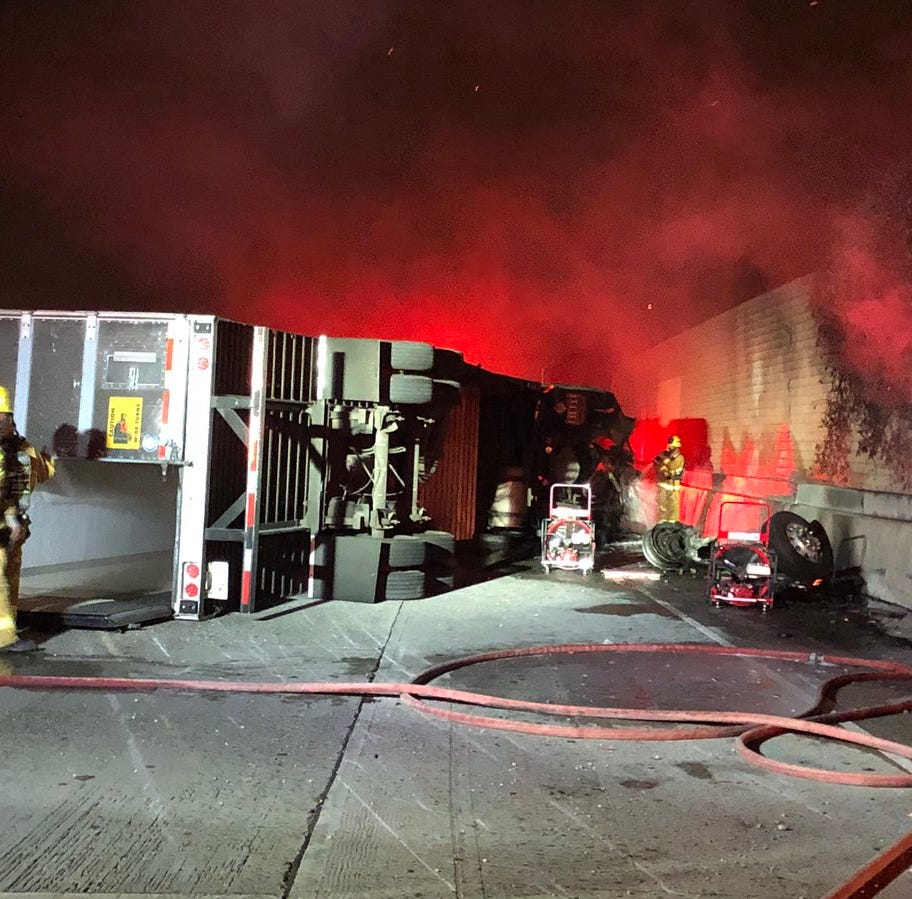 Northbound Highway 101 in Camarillo closed after semitrailer crash, fire