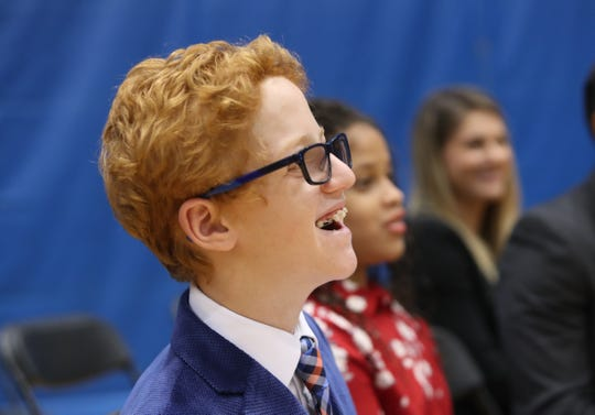 Matthew Wellling, 12, of White Plains was an honorary reporter from Garden of Dreams during media day at the Knicks training facility in Tarrytown Sept. 24, 2018.