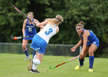 North Salem's Megan Marano drives ball against Bronxville Sept. 24, 2018. Bronxville won 2-0 but North Salem turned the tables on it with a shootout win in the Section 1 Class C semifinals Oct. 25, 2018.