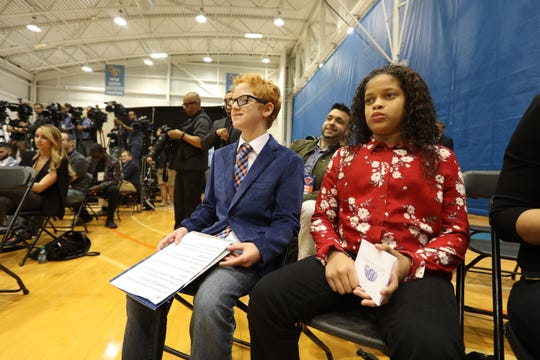 Matthew Wellling, 12, of White Plains and Makayla Lima of Manhattan were honorary reporters from Garden of Dreams during media day at the Knicks training facility in Tarrytown Sept. 24, 2018.