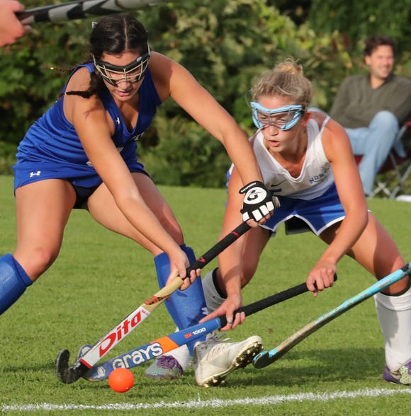 Bronxville's Sunday Ladas, left, is pressured by North Salem's Stella DiDomenico during their game at North Salem Sept. 24, 2018. Bronxville won 2-0.