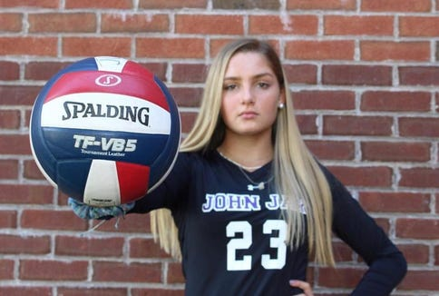 John Jay-Cross River volleyball hitter Lily Preis poses for a photograph.