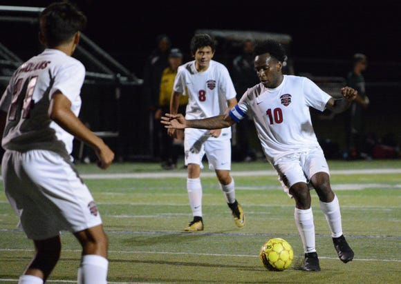 Nyack forward Wismento Saint-Germain settles the ball late in the second half of a 2-0 loss at Brewster on Monday, September 24, 2018.