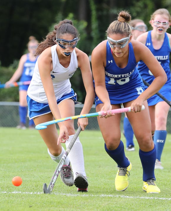 North Salem's Alyssa Freedman, left, defends Bronxville's Andrea Shephard during their game at North Salem Sept. 24, 2018. Bronxville won 2-0.