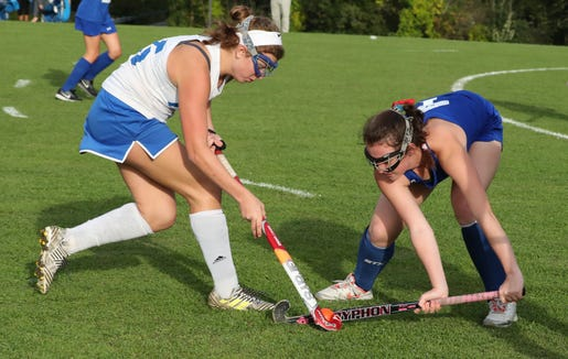 North Salem's Allison Eberhardt, left, tries to get past Bronxville's Bridget Sands during their game at North Salem Sept. 24, 2018. Bronxville won 2-0.