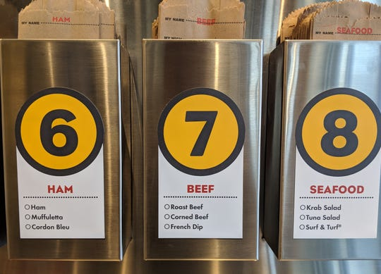 A closer view of the bags you choose from when making your order at Which Wich.