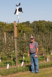 Oakwood Fruit Farm installed this computerized weather station in the spring of 2018. Steve Louis, a member of the family that owns the venerable orchard, says weather data helps with a number of tricky management decisions, including irrigation and thinning of young fruits.